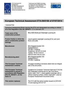 Europejska Aprobata Techniczna ETA 09/0156